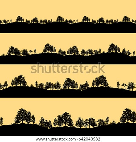 Deciduous forest trees black silhouettes background vector illustration. Horizontal abstract banners of wood covered sunset hills.