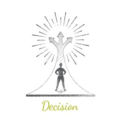 Decision, choice. A woman is standing on a large arrow that rises to the sky. The arrows diverge in three directions. Vector illustration, business concept, hand drawn sketch.