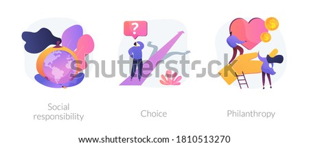 Decision making abstract concept vector illustration set. Social responsibility, choice, philanthropy, social value, private initiative, problem solving, donation fund, volunteering abstract metaphor.