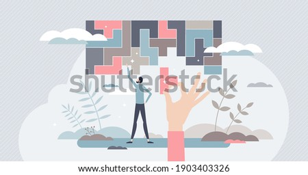 Decision making and logical thinking in difficult tasks tiny person concept. Find solution or business strategy to solve complex situations vector illustration. Problem management with analysis skills Сток-фото ©