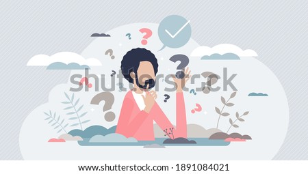 Decision making confusion and successful option choice tiny person concept. Doubt and struggle about strategy, path direction with symbolic question marks vector illustration. Search for right answer.