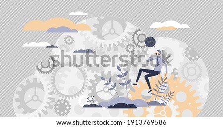 Decision making mind about complex and difficult process tiny person concept. Challenge solving, research and analysis as gear system in head vector illustration. Symbolic question progress mechanism. Сток-фото ©