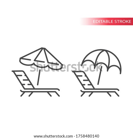 Deck chair, lounge or sun bed with beach umbrella thin line icon. Outline, editable stroke vector.