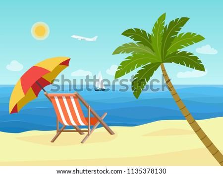 deck chairs and umbrella beach