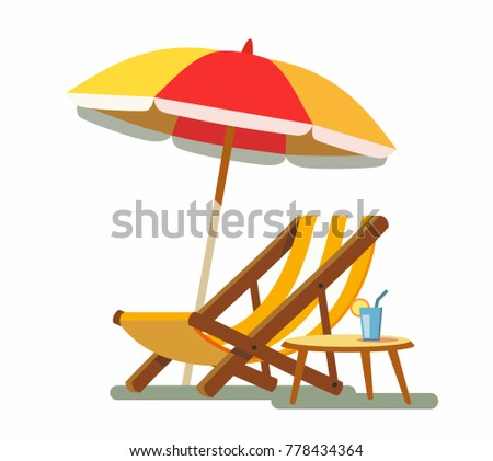 Deckchair and umbrella on the beach. Vector illustration
