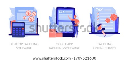 Declaration programs, easy reporting, tax website. Desktop tax filing software, mobile app tax filing software, filing online service metaphors. Vector isolated concept metaphor illustrations.