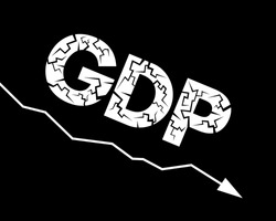 Decline and decrease of GDP ( Gross domestic product ) - failure and breakdown of economy and finances leading to financial crisis and trouble. Vector illustration of graph, chart and diagram