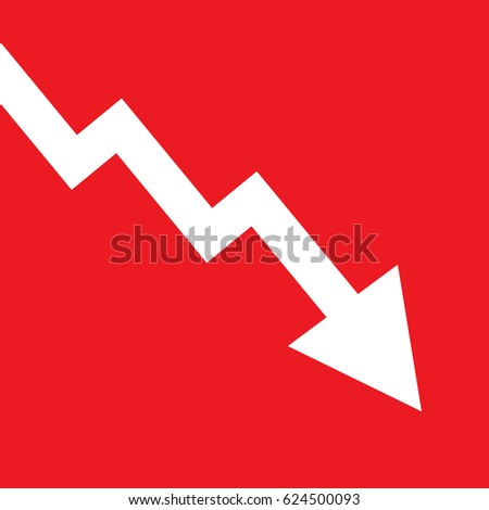 Decline arrow isolated on red background