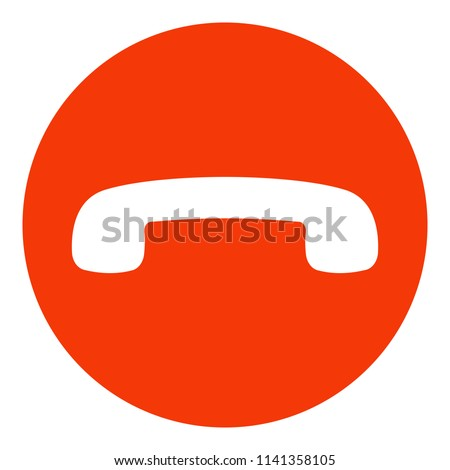 Decline phone call button. Handset icon. Red. Vector. Сток-фото ©