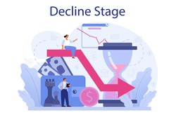 Decline stage concept. Finance crisis with falling down graph and income decrease. Idea of bancruptcy and business risk. Money loss. Isolated flat vector illustration