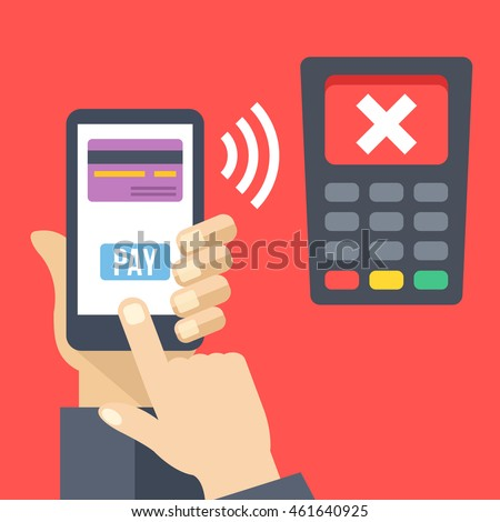 Declined mobile payment, rejected transaction. Hand holding smartphone with credit card, pay button, POS terminal with cross on screen. Mobile banking concept. Modern flat design vector illustration