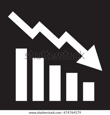 Declining bars graphic icon with declining arrow