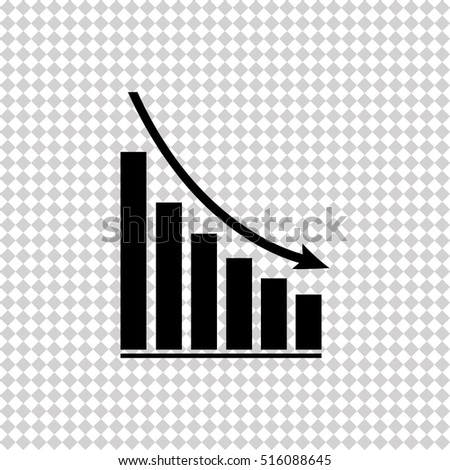 Declining graph -  black vector icon