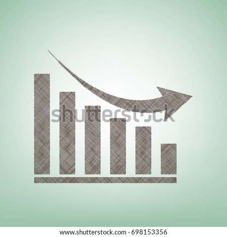 Declining graph sign. Vector. Brown flax icon on green background with light spot at the center.