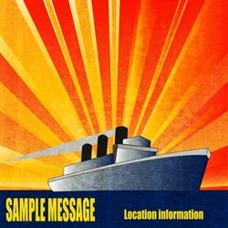 Deco style vintage vector poster for a Cruise Liner in the sun