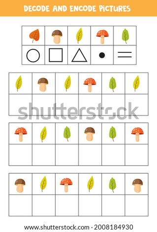 Decode and encode pictures. Logical game with cute autumn leaves. Stock foto ©