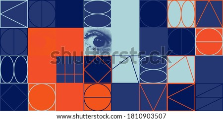 Deconstructed postmodern inspired artwork of vector abstract symbols with bold geometric shapes, useful for web background, poster art design, magazine front page, hi-tech print, cover artwork. Stock fotó ©