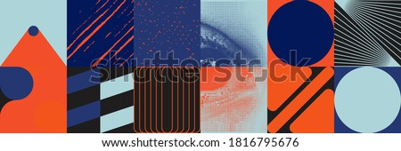 Deconstructed postmodern inspired artwork of vector abstract symbols with bold geometric shapes, useful for web background, poster art design, magazine front page, hi-tech print, cover artwork.