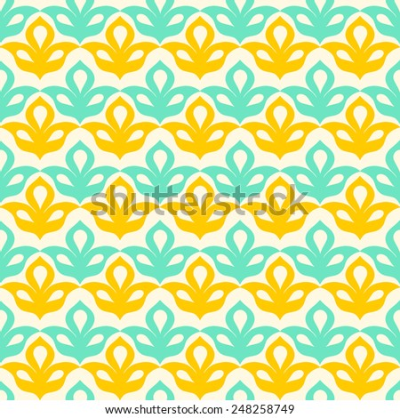 Decor bright summer seamless pattern, stylish fabric design, background with geometric mint green yellow elements (also saved in swatches panel)