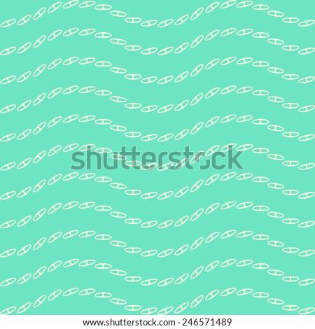 Decor chain line seamless pattern, wave vector mint green background, stylish print, summer design