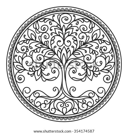 stock-vector-decor-element-vector-black-and-white-illustration-mandala ...
