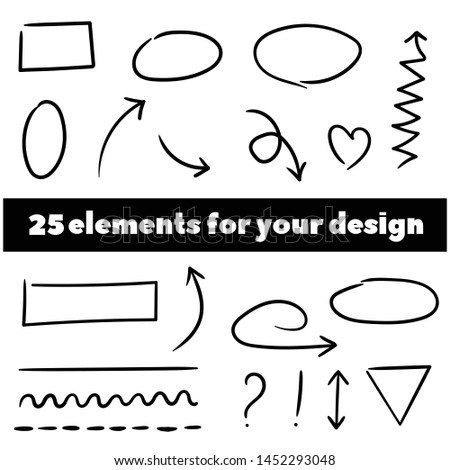 Decorate your texts and photos with hand drawn elements. Arrows circles and abstract doodle writing design vector set