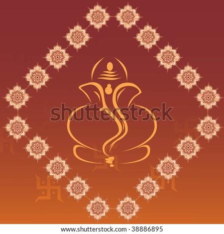 decorated background with ganpati, swastika - stock vector