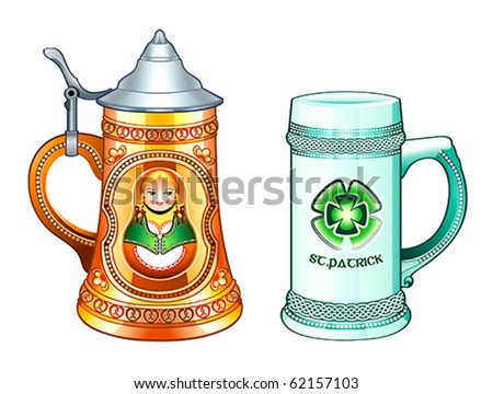 Decorated beer steins for Oktoberfest and St.Patrick's day