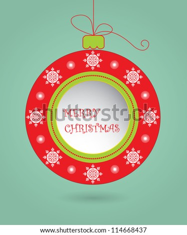Decorated Christmas ball, greeting card - stock vector
