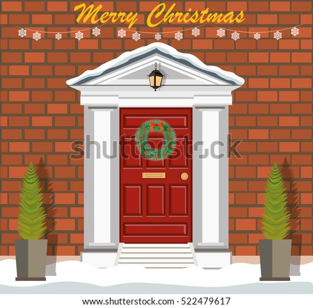 decorated christmas door with