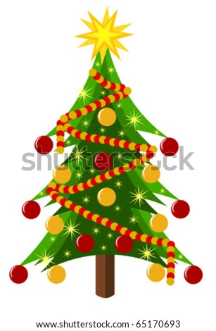 Decorated Christmas tree isolated over white. Vector illustration