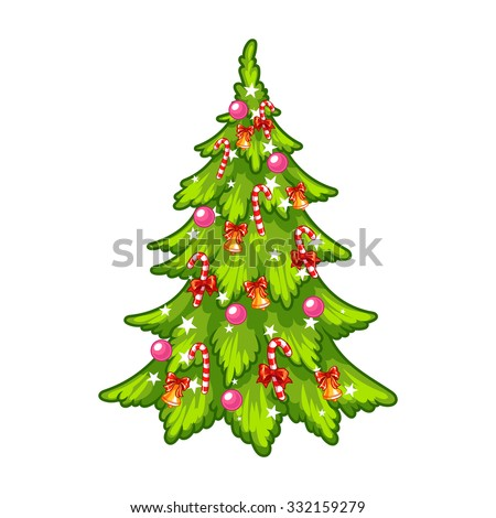 Decorated christmas tree vector clip art illustration on a white