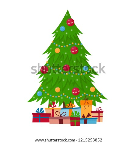 Decorated christmas tree with gift boxes, lights, decoration balls and lamps. Merry Christmas and a happy new year.  Vector illustration in flat and cartoon style
