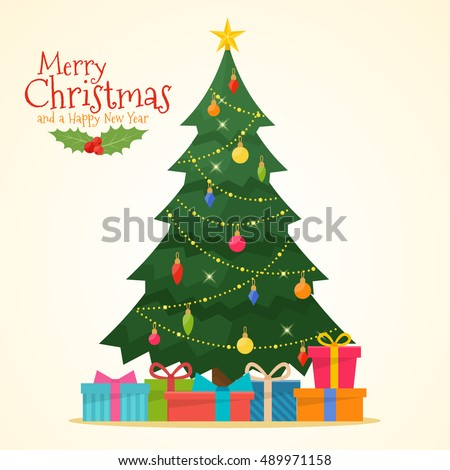 stock-vector-decorated-christmas-tree-with-gift-boxes-star-lights-decoration-balls-and-lamps-merry-christmas