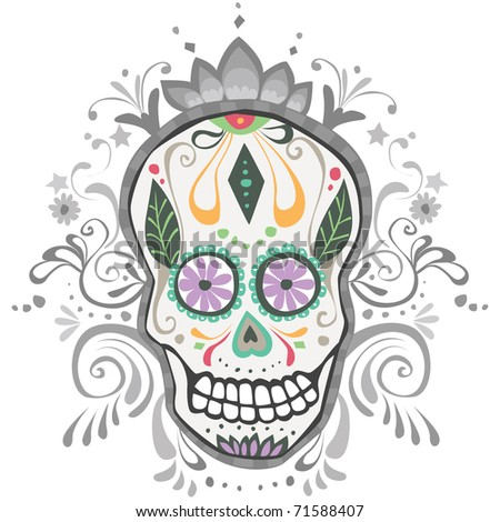 Decorated Day of the Dead Sugar Skull Vector illustration of a Day of The Dead Sugar Skull with an ornate background.