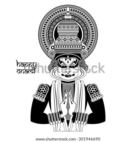 Vector Images Illustrations And Cliparts Decorated Indian Kathakali Dancer Happy Onam Black And White Vector Illustration Hqvectors Com