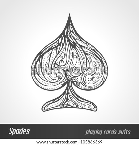 Decorated playing card suits. Spades
