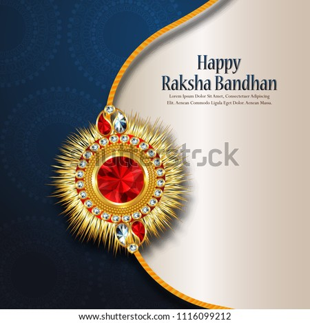 Decorated rakhi for Indian festival Raksha Bandhan Greeting Card Template Design with nice illustration in a creative background,