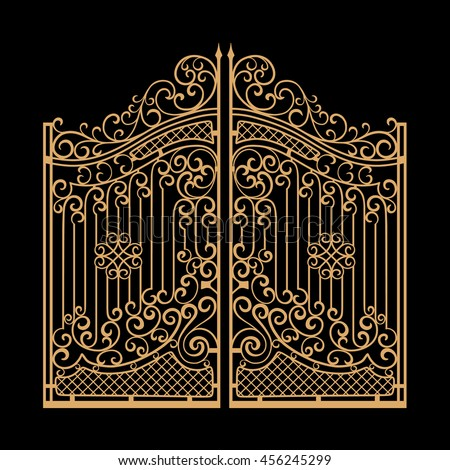 decorated steel gates vector