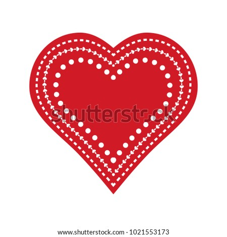 Decorated Valentine's Day Heart Illustration. Vector.