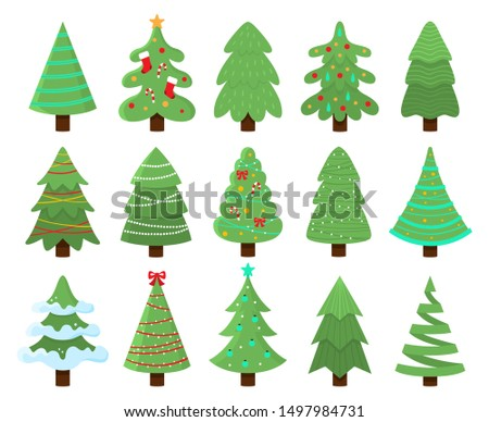 Decorated xmas trees. New Years tree with heralds, striped christmas pine. 2020 winter holidays party green fir with garland decoration. Isolated vector illustration icons set