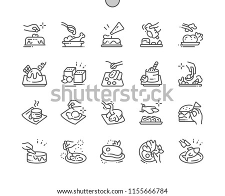 Decorating food Well-crafted Pixel Perfect Vector Thin Line Icons 30 2x Grid for Web Graphics and Apps. Simple Minimal Pictogram