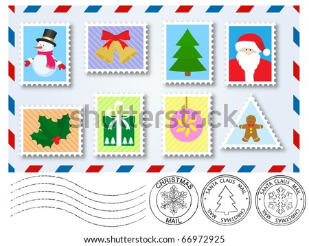 decoration elements  stamps and postage  marks for letter to santa claus