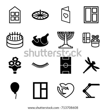 decoration icons set set of 16