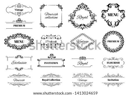 Decoration ornament frame. Vintage calligraphic motif ornate text, ornamental frames and decorative borders vector illustration set