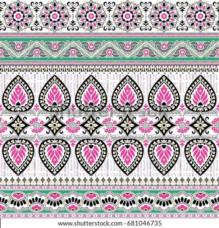 decoration paisley border design  #681046735