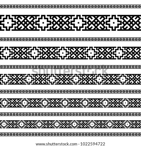 Decoration patterns in black and white colors. Geometrical ethnic border in different sizes set collection. Vector illustration. Brushes, can easy use as tattoos, frames, dividers #1022594722