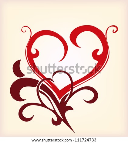 Decoration red heart. Vector illustration