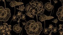 Decoration with flower geranium, pelargonium. Seamless floral pattern. Print gold foil foliage, flowers, black background. Vintage vector illustration. Hand drawing template for textile, paper, cloth