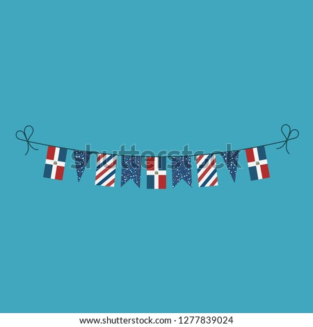 Decorations bunting flags for Dominican Republic national day holiday in flat design. Independence day or National day holiday concept.
